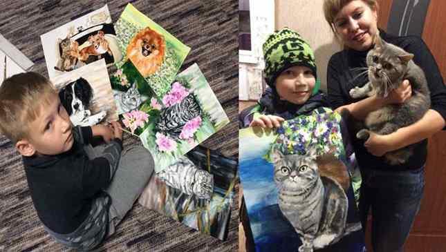 Artista de 9 anos vende lindas pinturas para ajudar abrigo de animais
