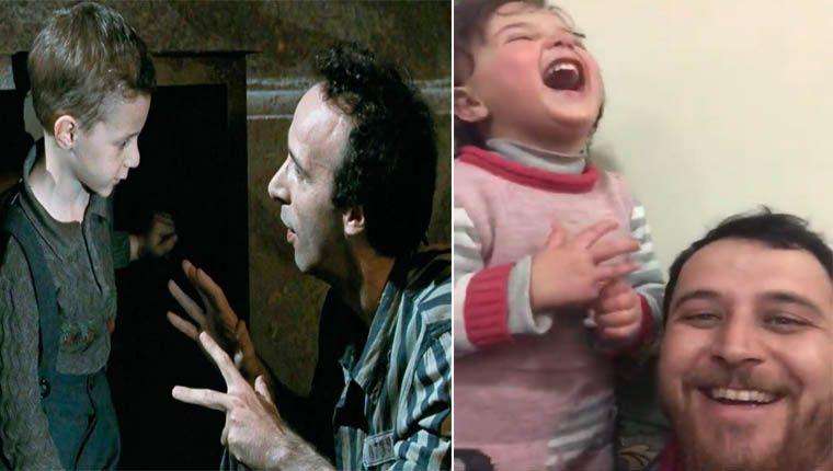 A Vida é Bela: Pai usa brincadeiras para distrair filha durante bombardeio