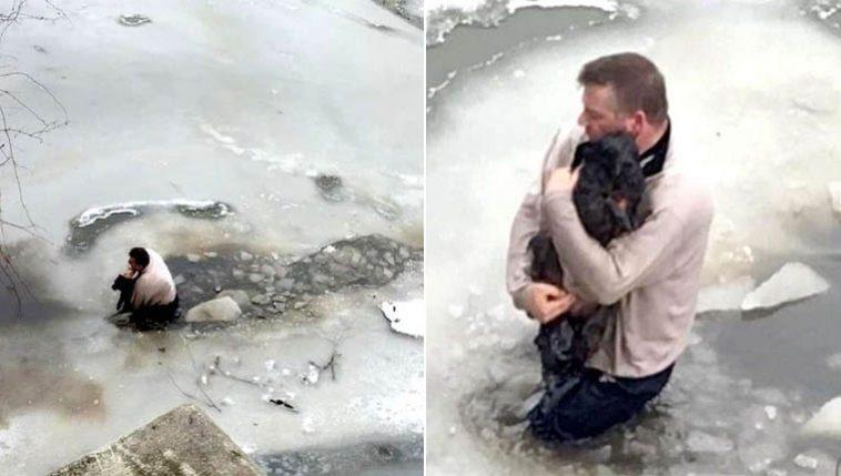 homem resgata cão preso no gelo