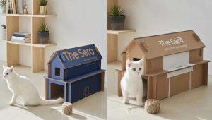 Caixas de TV Samsung dobráveis viram casinhas para gatinhos