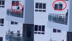 Pai balança filha em sacada de prédio sem proteção – vídeo chocante