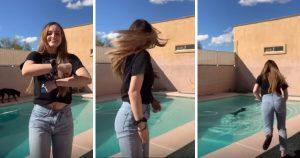 Garota interrompevídeonoTikTokpara salvar cachorro que caiu na piscina