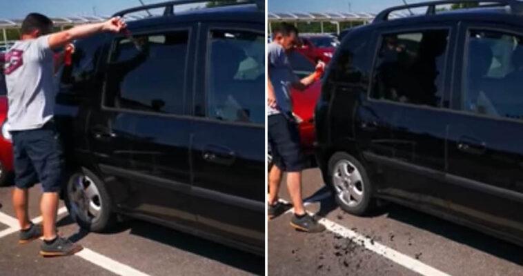Homem quebra vidro de carro