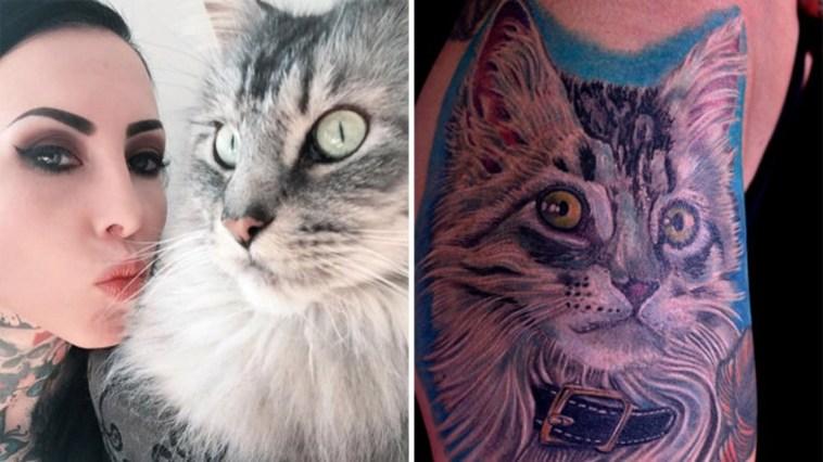 Mulher faz tatuagem do gato dela usando pelo original dele na tinta