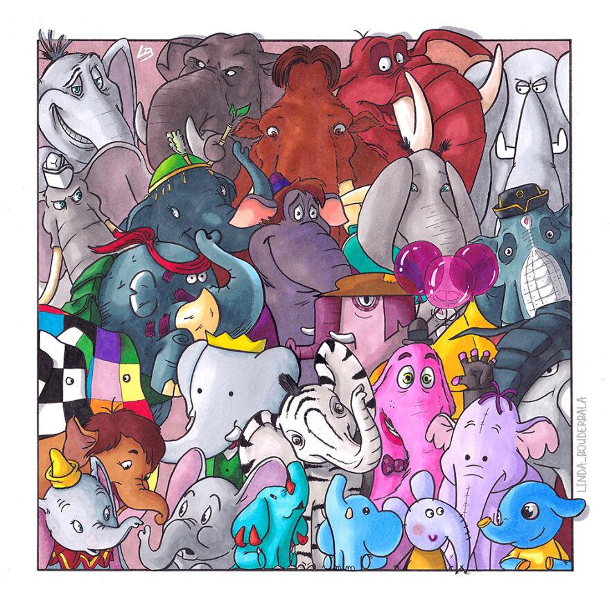 Tente reconhecer todos esses animais elefantes