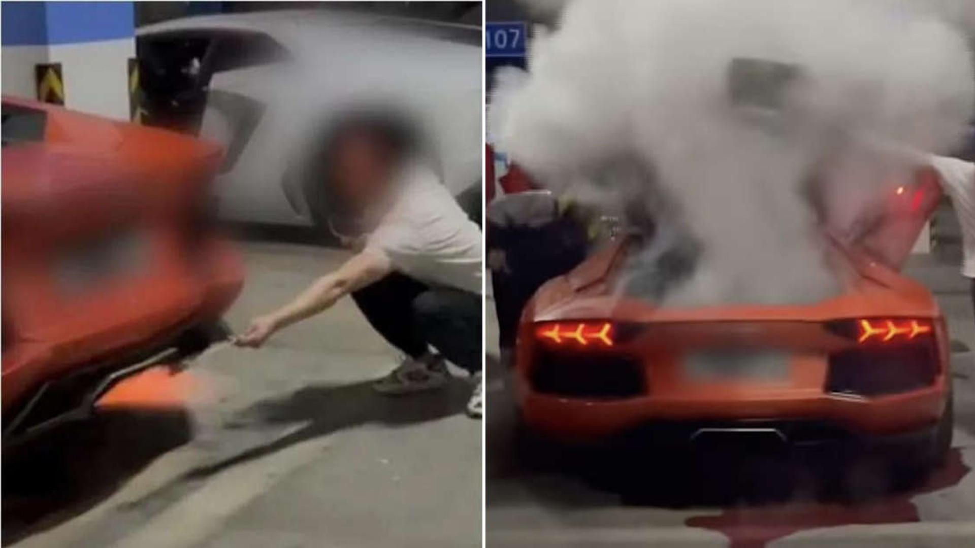 Chineses incendeiam Lamborghini tentando assar carne no escapamento