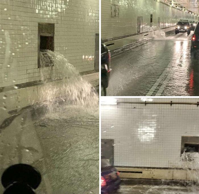 inundação em túnel