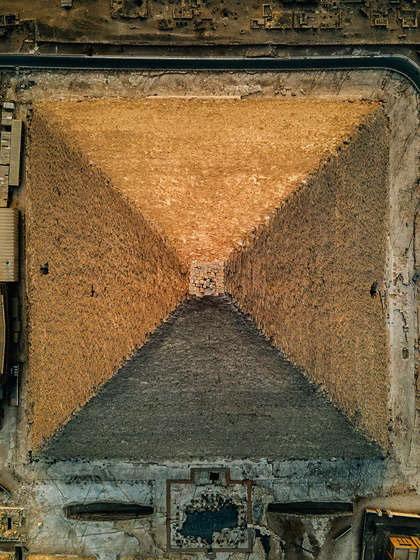 topo da Grande Pirâmide de Gizé fotos